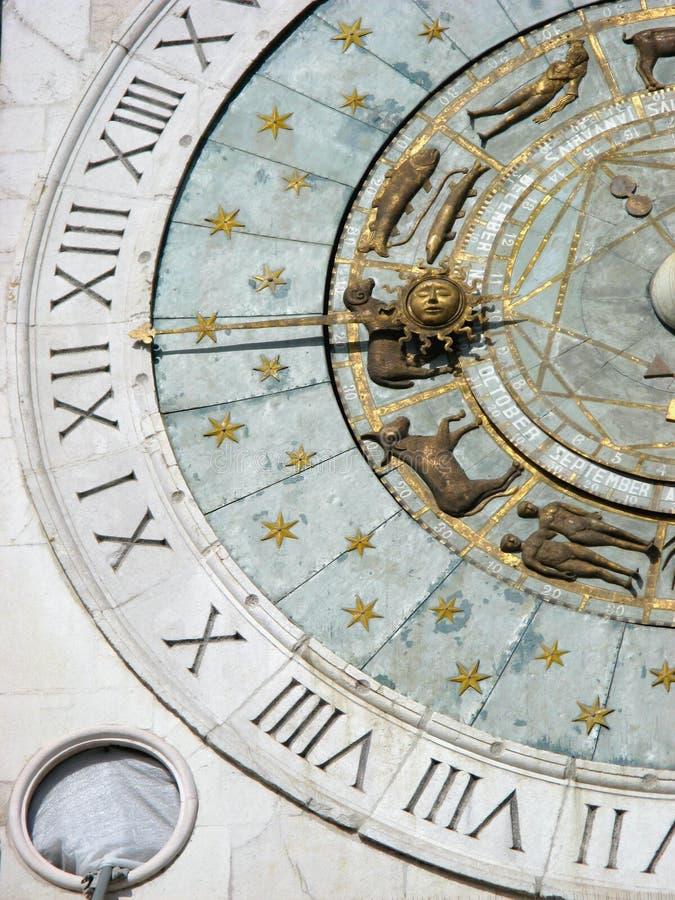 Particolare zodiacale dell'orologio immagini stock libere da diritti