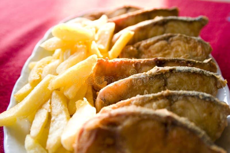 Particolari dei pesci e del chip fritti immagine stock