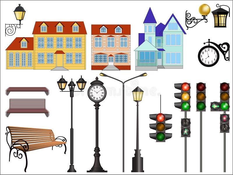 Particolari della via della città illustrazione di stock