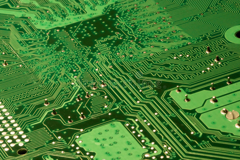 Particolari verdi del circuito di calcolatore immagine stock