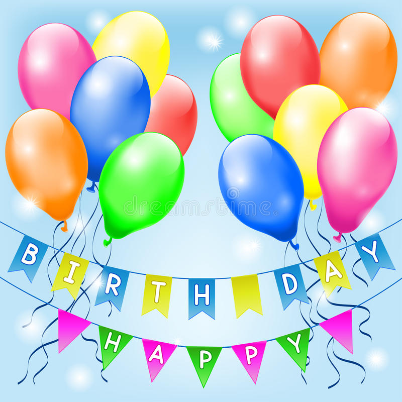 Particolored balloons and small flags. With Happy birthday letters royalty free illustration
