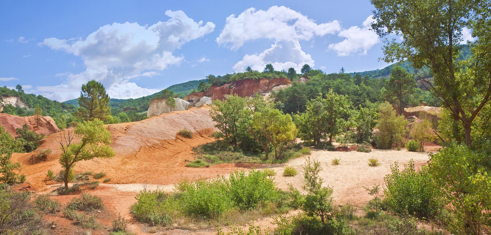 Particular French landscape, in the provence region, called Colorado Provencal with its ocher, yellow and red earth Europe-France. Provence royalty free stock photography