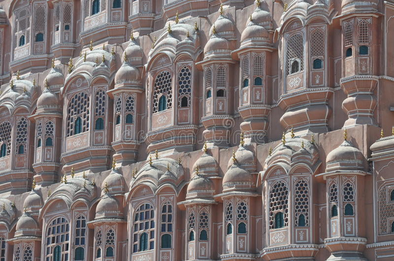 Particular of the palace of winds, India. A detail of the palace of winds (Hawa Mahal) built in Jaipur, India stock image