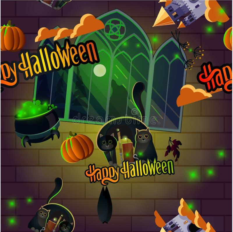 Particularité de la citrouille et du chat pour l'halloween illustration libre de droits