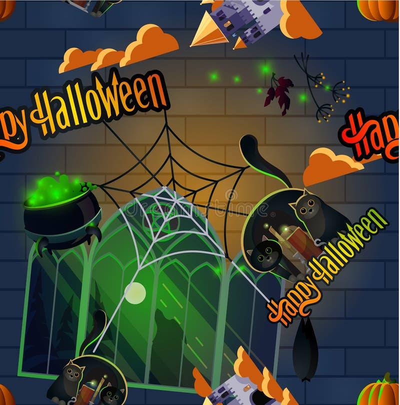 Particularité de la citrouille et du chat pour l'halloween illustration stock