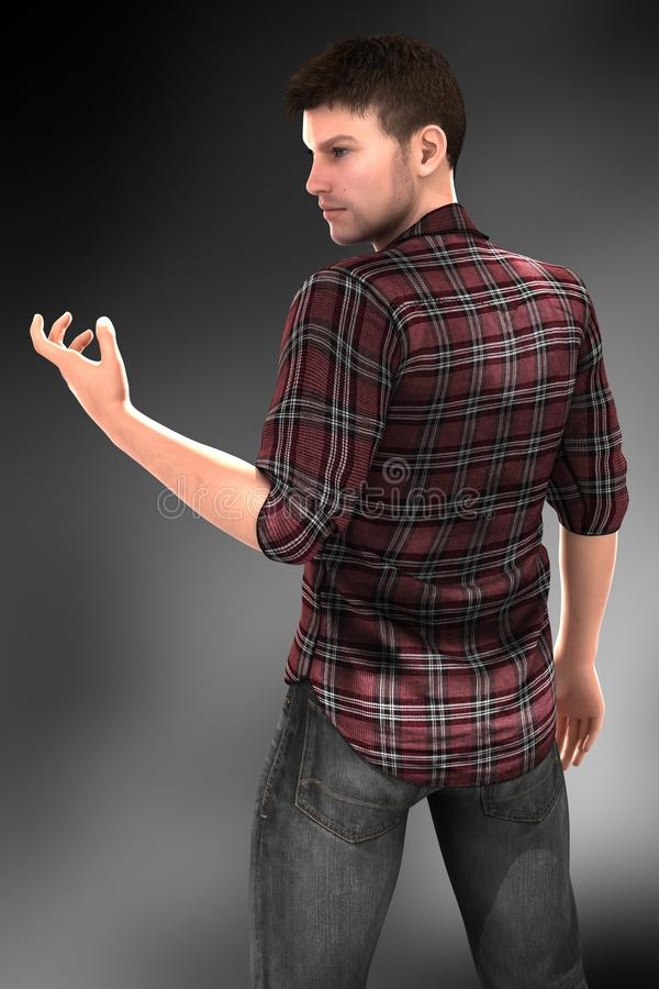 Handsome Urban Fantasy Character Cropped royalty free illustration