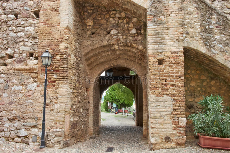 Particulars of the Padenghe castle royalty free stock image