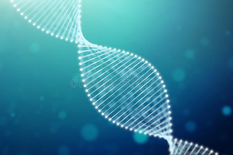 Particulate 3D rendered DNA. A bright particulate 3D rendered DNA with a blue bokeh background.3d rendering - Illustration royalty free illustration
