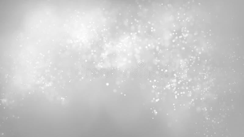 Particules de flottement rougeoyantes de bokeh sur le fond coloré gris Fond de chute de neige mou de résumé photographie stock