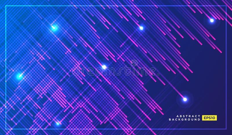 Particules de lampe au néon, Shooting Stars, vol de météorites à la grande vitesse sur le fond de l'espace foncé Conception éléga illustration libre de droits