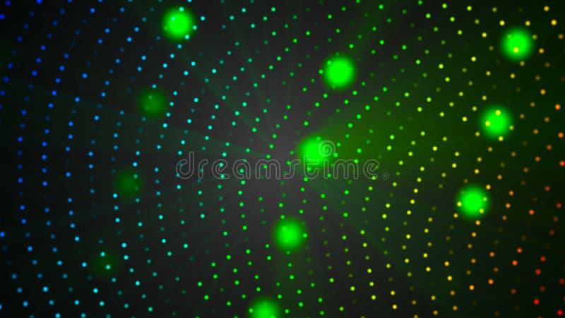 Particules de lumière de l'espace de VJ dans l'espace noir - abstraction moderne pour le style de vie nocturne, fond généré par o illustration de vecteur