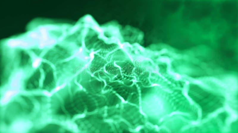 Particules de ondulation lumineuses de smokey de r?sum? avec la profondeur du champ Particules vertes d?bordantes dynamiques de f photo libre de droits