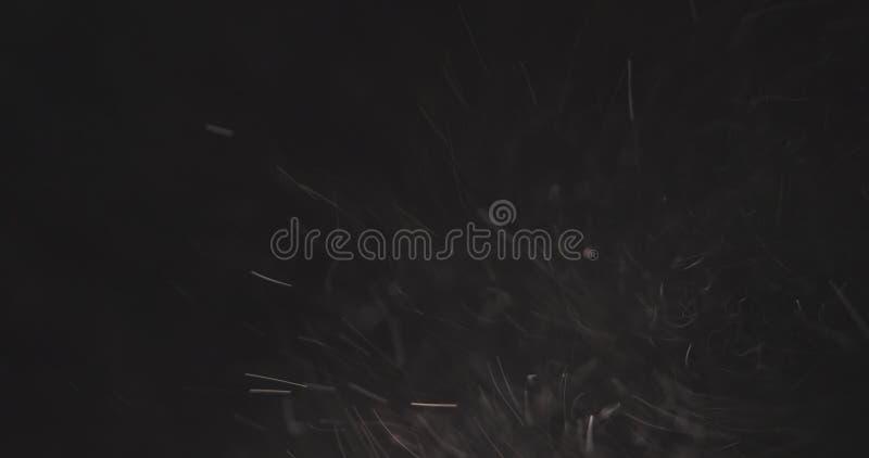 Particules de poussière rapides au-dessus du fond noir de la droite images libres de droits