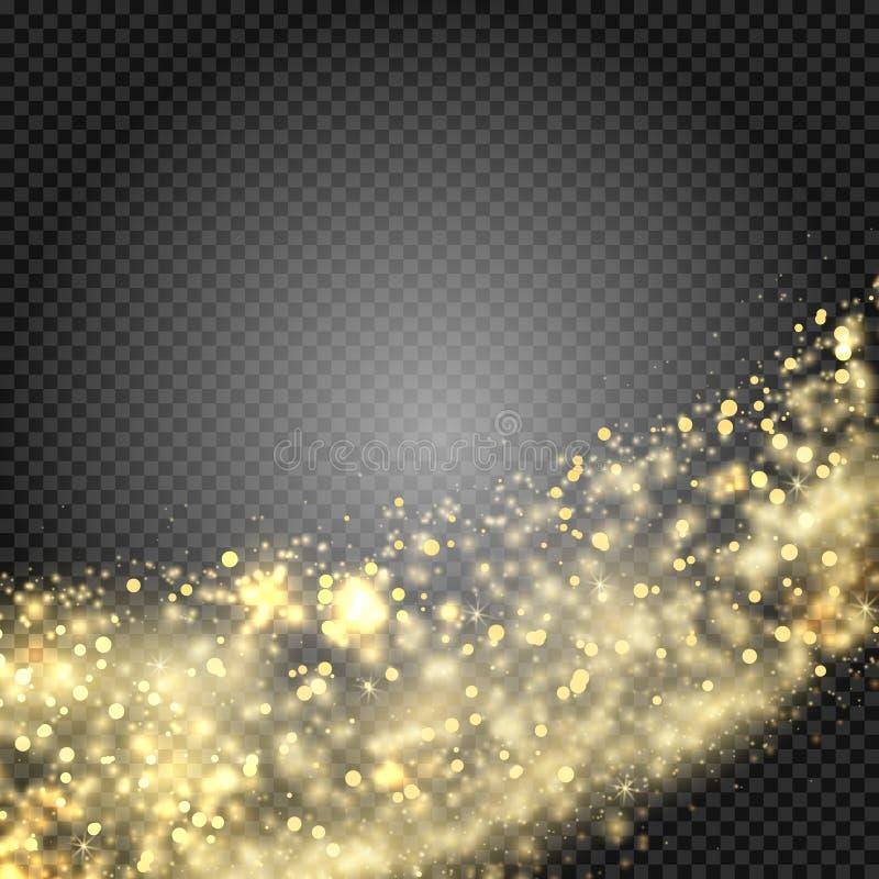Particules de scintillement d'étoile d'or de traînée éclatante de la poussière sur le fond transparent Queue de comète de l'espac illustration libre de droits