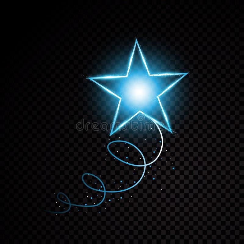Particules de scintillement d'étoile de traînée en spirale éclatante bleue de la poussière sur le fond transparent Queue de comèt illustration libre de droits