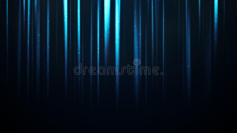 Particules et poussières dans les rayons légers bleus verticaux illustration libre de droits