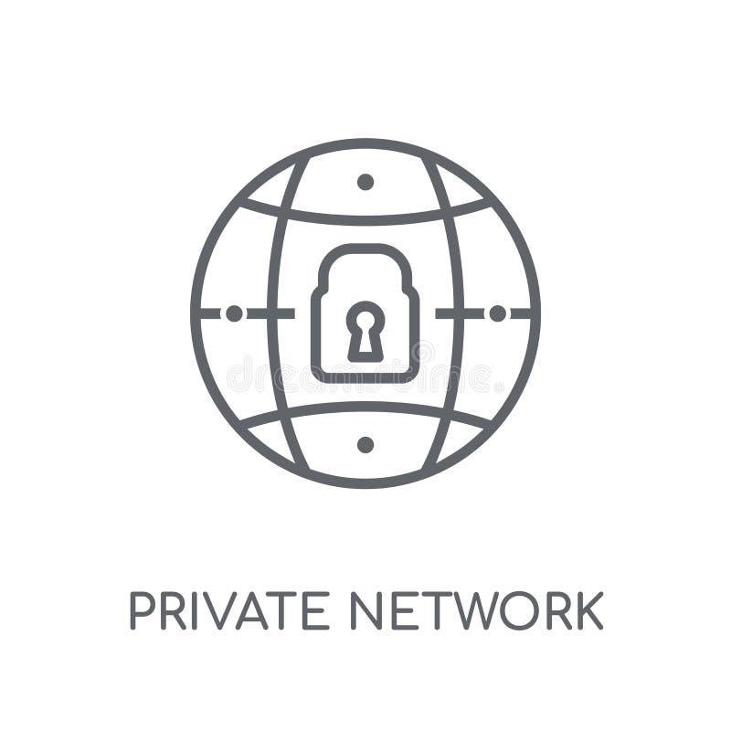 Particulier netwerk lineair pictogram Het moderne embleem van het overzichtsparticuliere netwerk stock illustratie