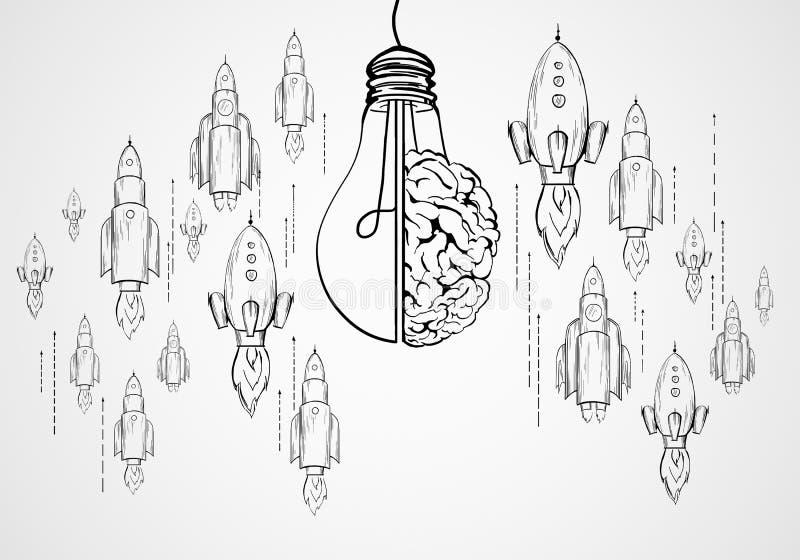 Partida, clique e conceito da inovação ilustração stock
