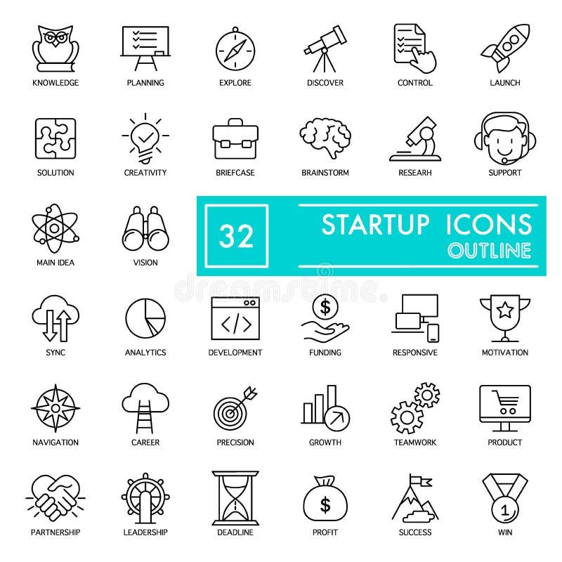 Partida com linha grupo da inscrição do ícone, símbolos coleção do negócio, esboços do vetor, ilustrações do logotipo, empresário ilustração do vetor