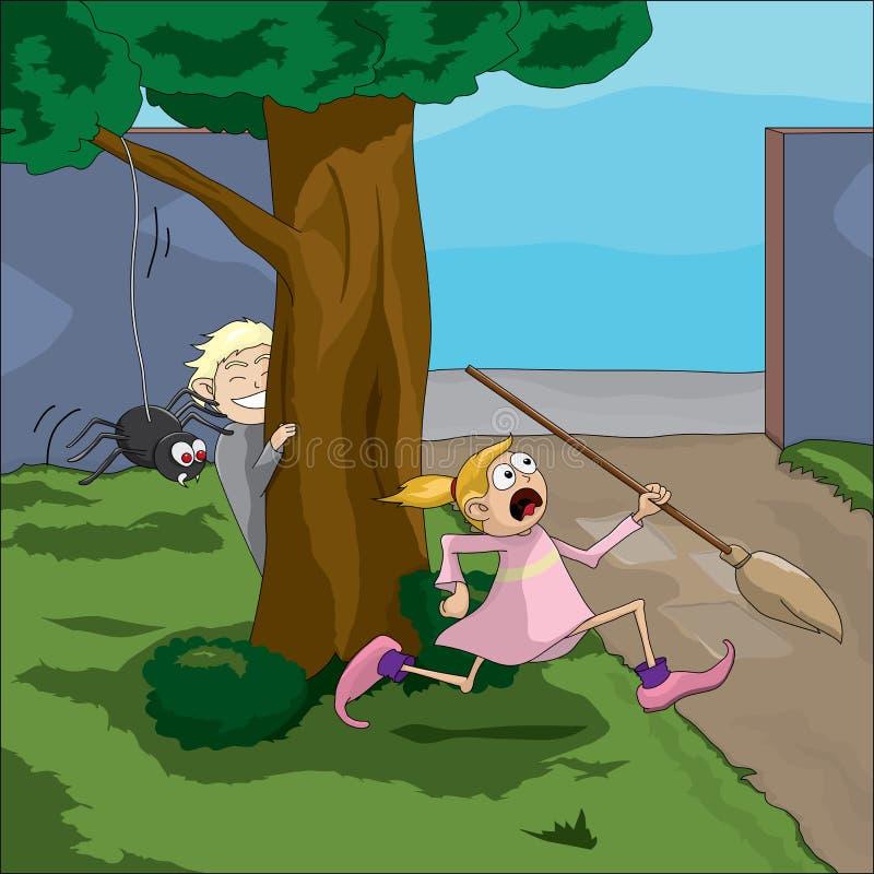 partida da aranha ilustração royalty free