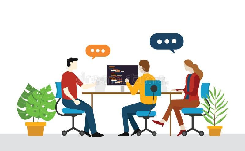 Partida da equipe do coordenador do programador para discutir junto no argumento da parte do escritório ilustração stock