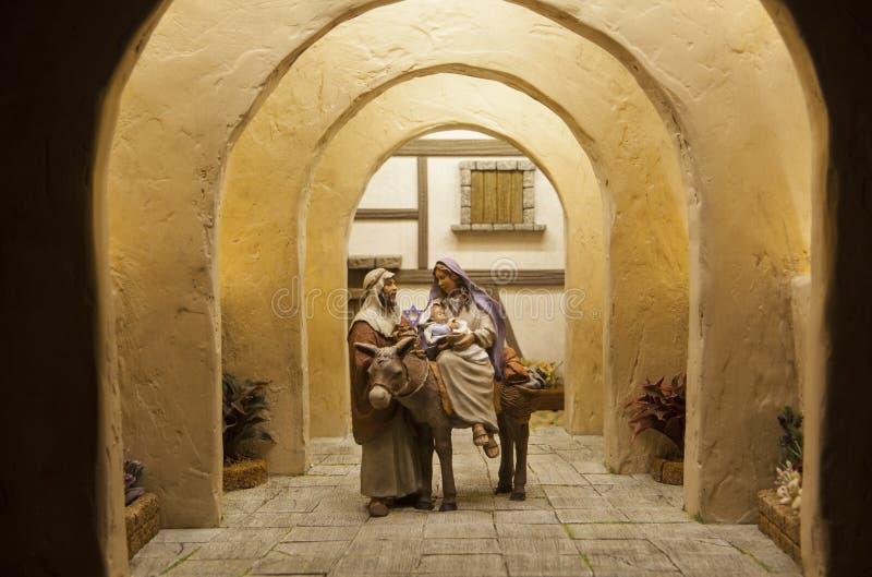 Partida de Bethlehem Cena da natividade do Natal fotos de stock royalty free