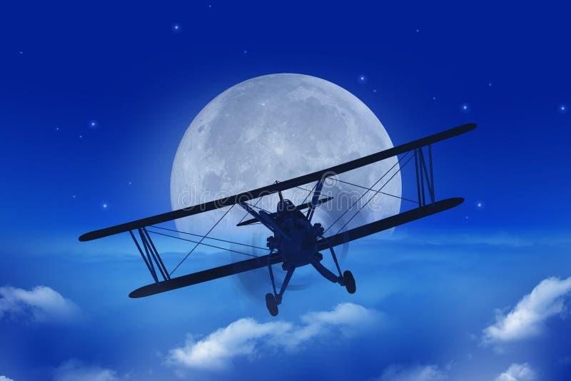 Partida del aeroplano de la Luna Llena stock de ilustración