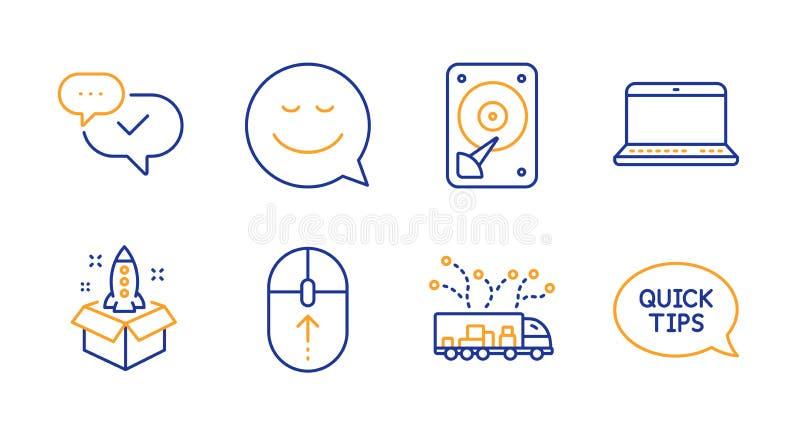 Partida, furto acima e dos ícones de Hdd grupo Sinais da entrega do sorriso, do caderno e do caminhão Vetor ilustração stock