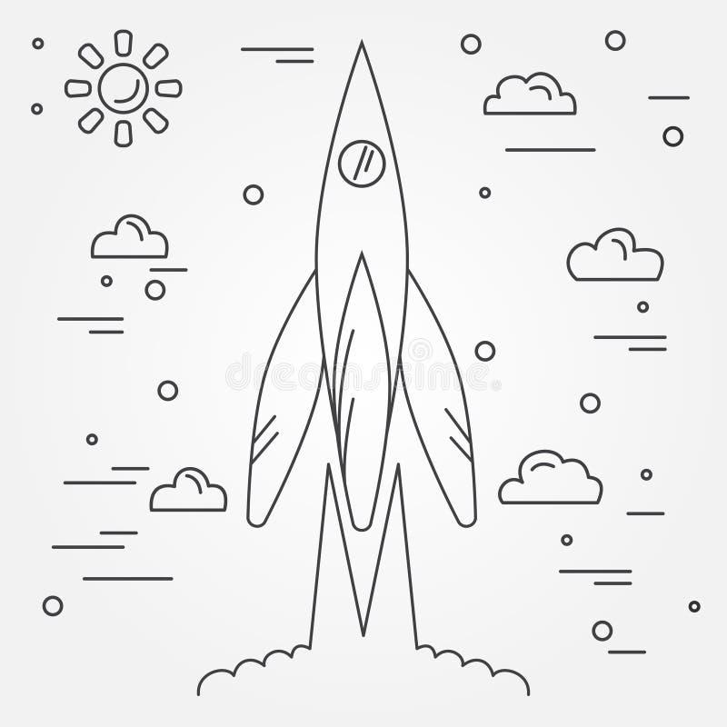 partida Linha fina ícone de Rocket Voo espacial humano Illus do vetor ilustração royalty free