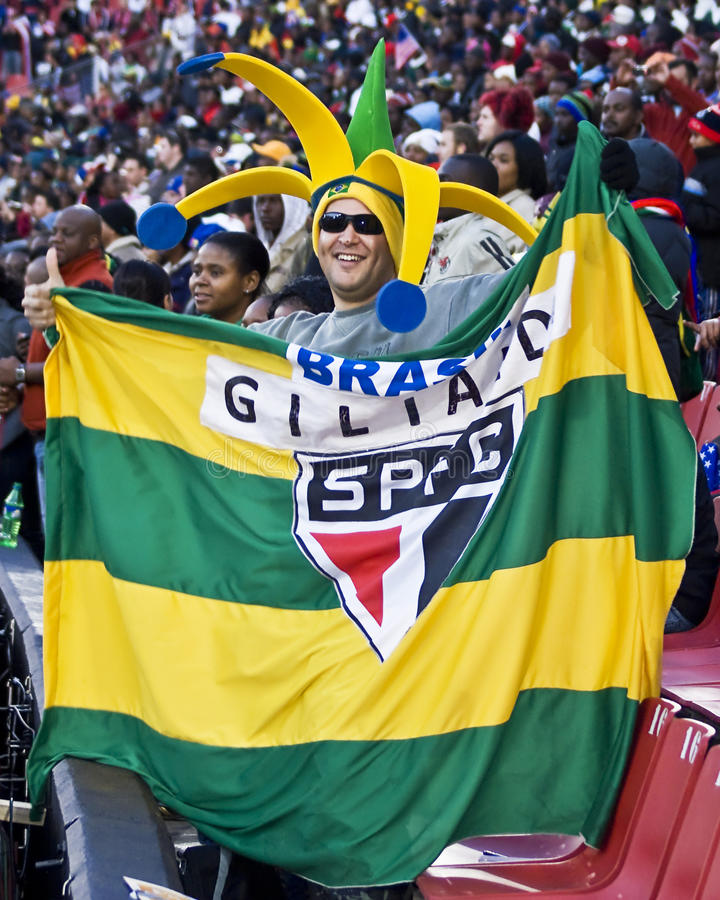 Partidario brasileño del fútbol - WC 2010 de la FIFA fotografía de archivo libre de regalías
