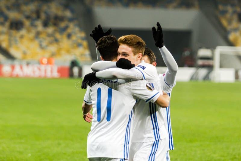 """Partidario del †de Kyiv del dínamo del partido de fútbol de la liga del Europa de la UEFA """", Dece fotos de archivo"""