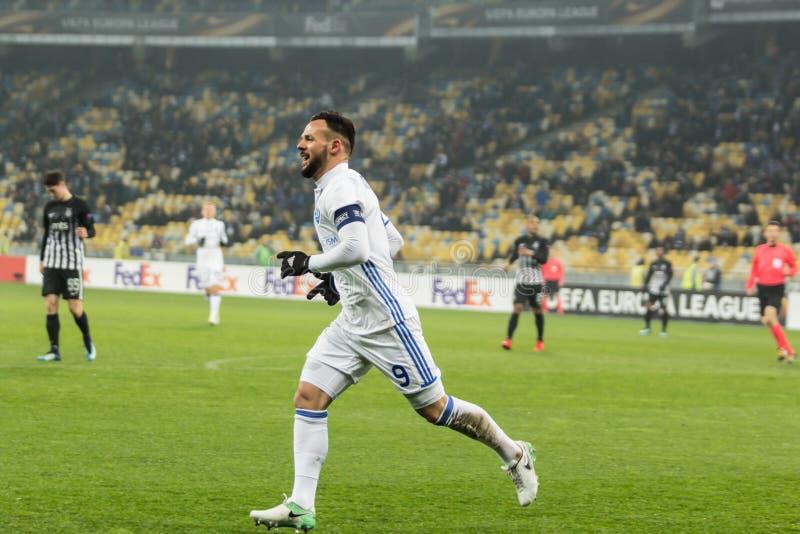 """Partidario del †de Kyiv del dínamo del partido de fútbol de la liga del Europa de la UEFA """", Dece imagen de archivo libre de regalías"""
