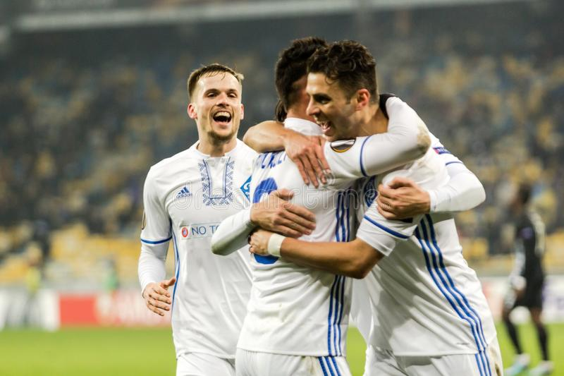 """Partidario del †de Kyiv del dínamo del partido de fútbol de la liga del Europa de la UEFA """", Dece imágenes de archivo libres de regalías"""