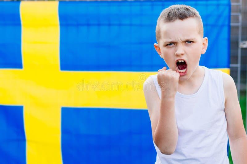 Partidario nacional del equipo de fútbol de Suecia imagen de archivo libre de regalías