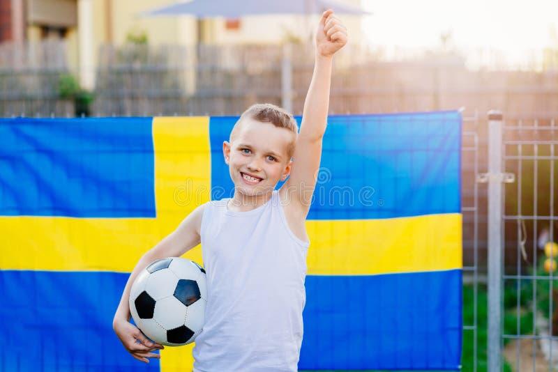 Partidario nacional del equipo de fútbol de Suecia fotos de archivo libres de regalías