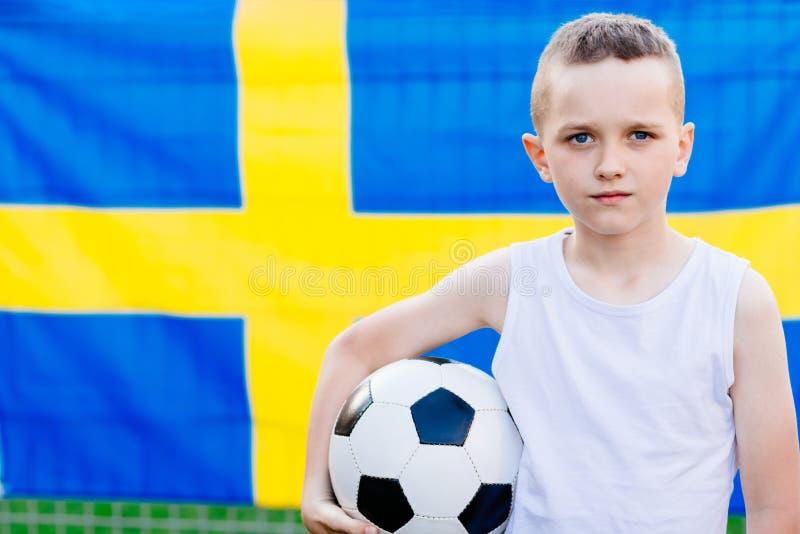 Partidario nacional del equipo de fútbol de Suecia foto de archivo