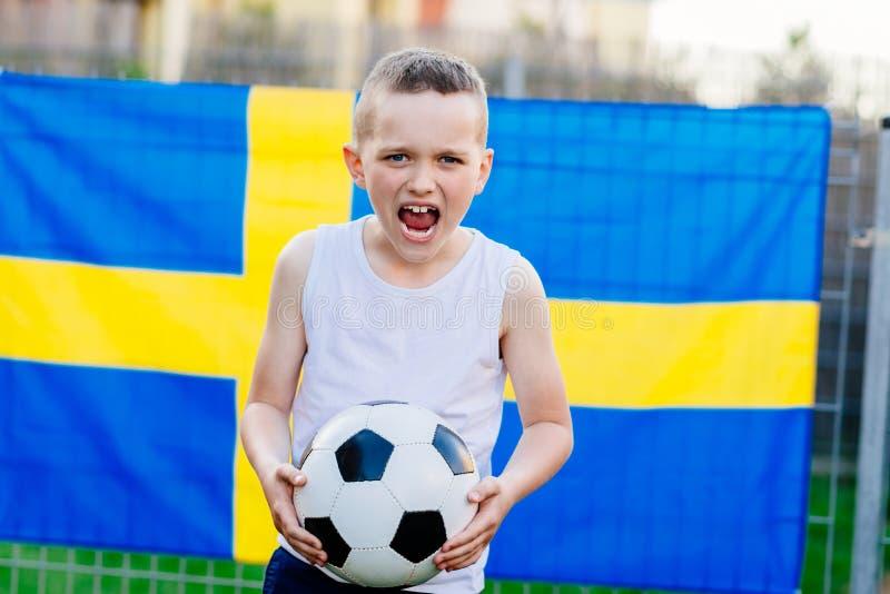 Partidario nacional del equipo de fútbol de Suecia fotos de archivo