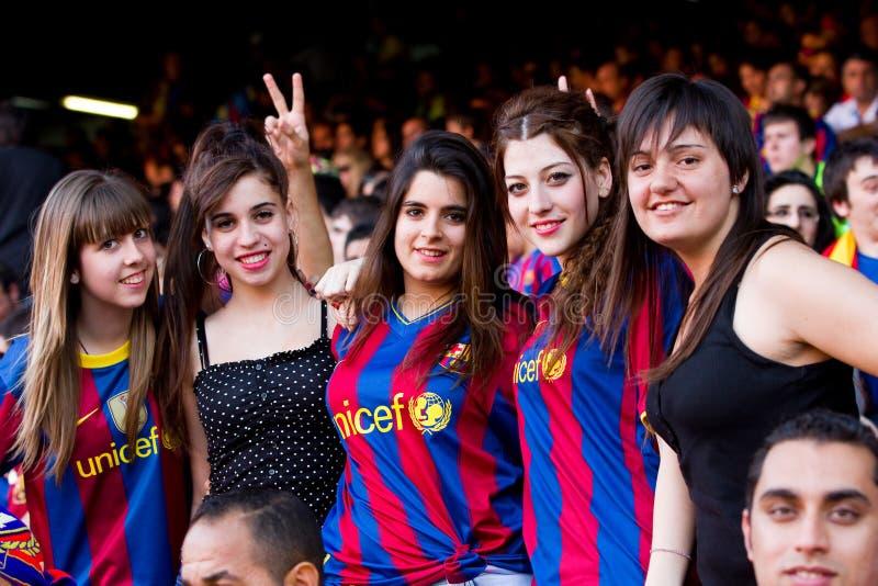 Partidarios de FC Barcelona imágenes de archivo libres de regalías
