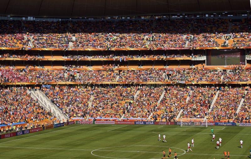 Partidarios del fútbol en la ciudad del fútbol - WC 2010 de la FIFA fotografía de archivo libre de regalías