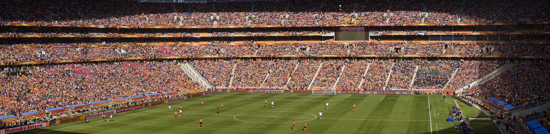Partidarios del fútbol panorámicos - WC 2010 de la FIFA imágenes de archivo libres de regalías