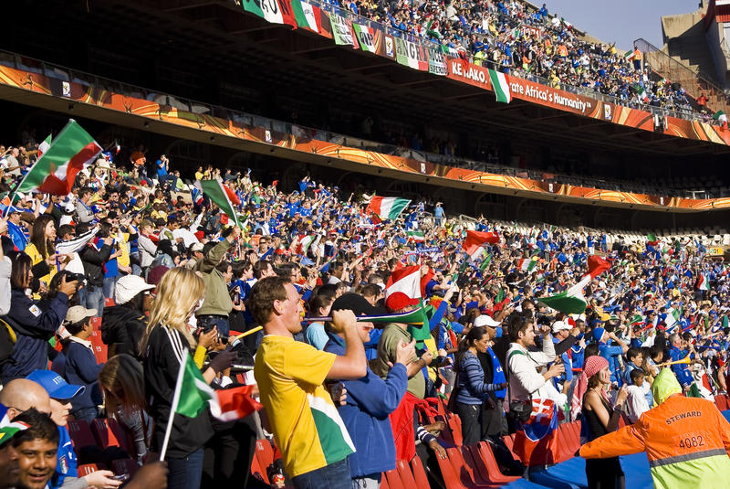 Partidarios del fútbol - WC 2010 de la FIFA imagen de archivo libre de regalías