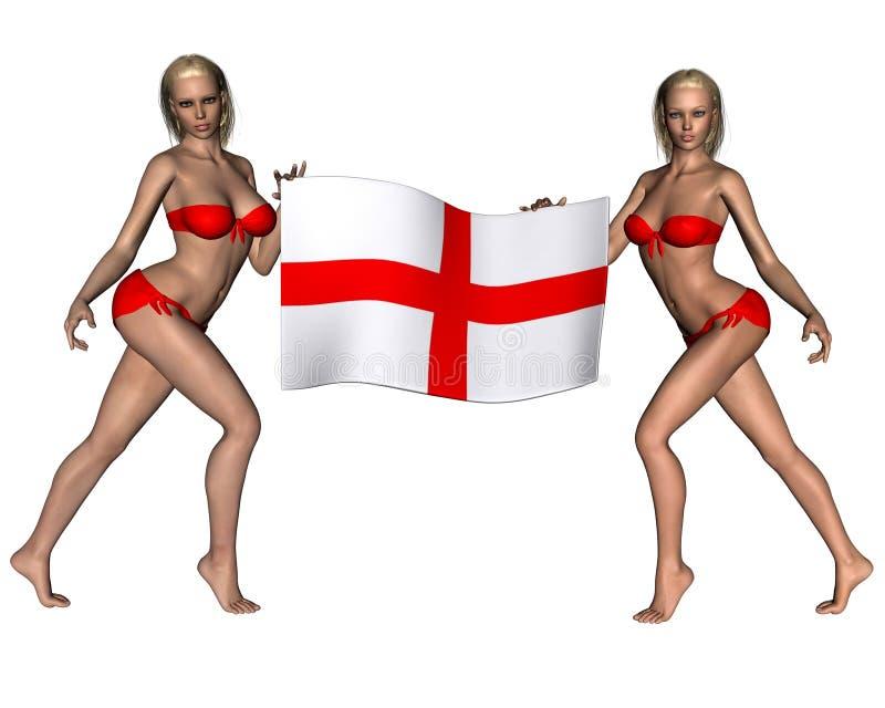 Partidarios rubios hermosos de Inglaterra ilustración del vector