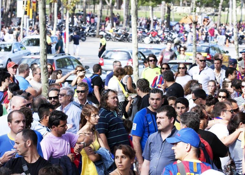 Partidarios tristes de FC Barcelona imagen de archivo
