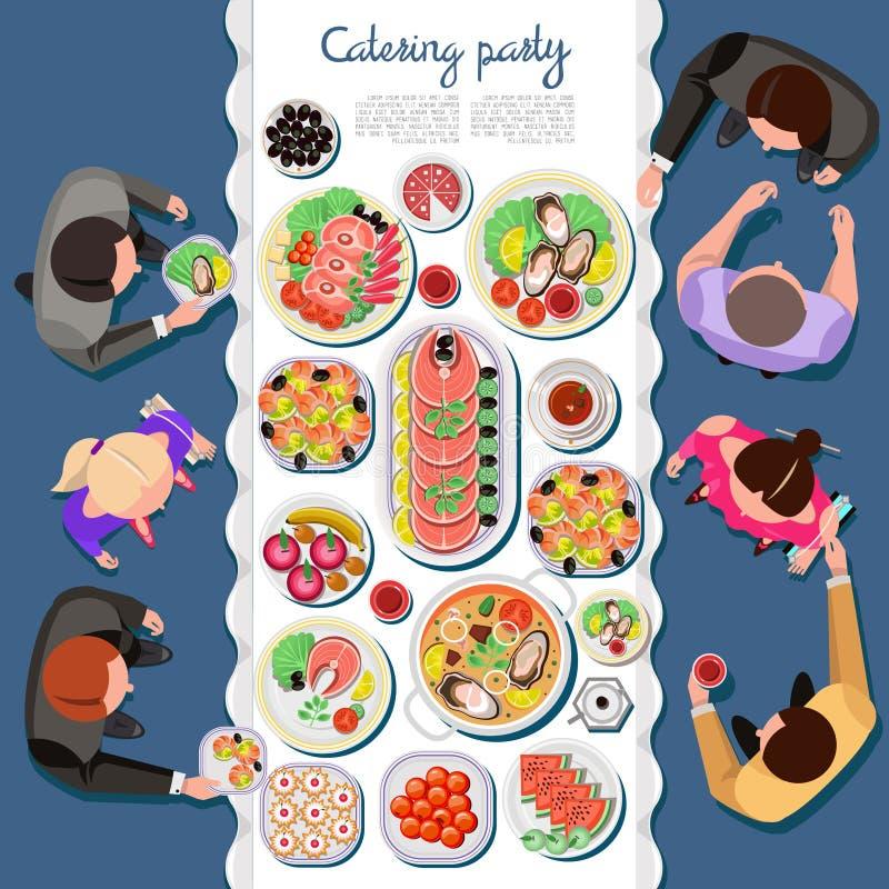 Partido atering del ¡de Ð con gente y una tabla de platos libre illustration