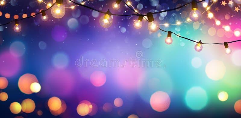 Partido - Bokeh colorido e luzes retros da corda foto de stock royalty free