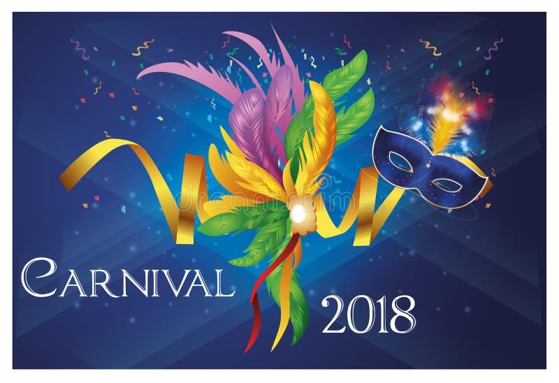 Partido brasileiro do carnaval com máscara roxa foto de stock