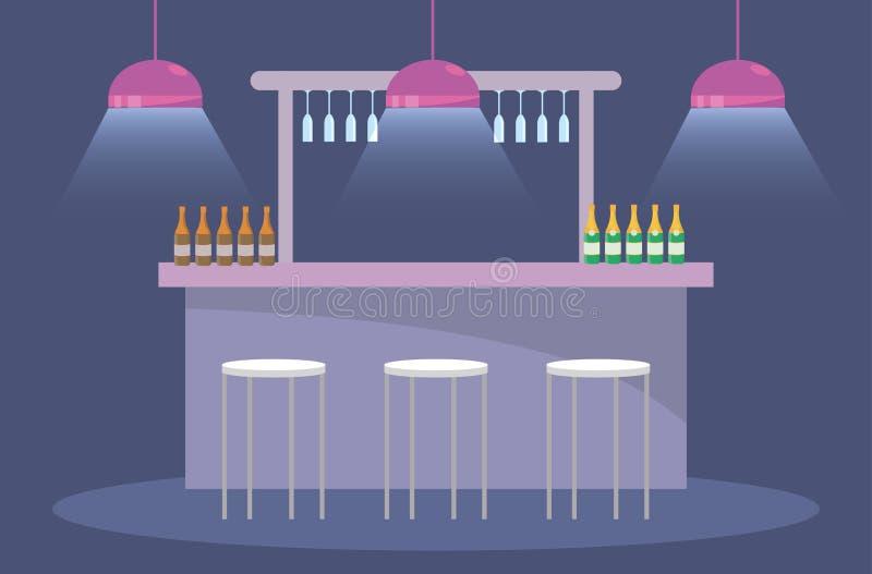 Partido com garrafas e luzes do champanhe com cadeiras ilustração royalty free