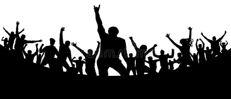 Partido, concerto, dança, divertimento Multidão de vetor da silhueta dos povos Juventude alegre ilustração stock