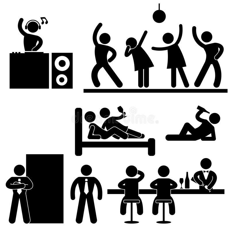 Partido da barra do clube de noite do Pub do disco ilustração do vetor