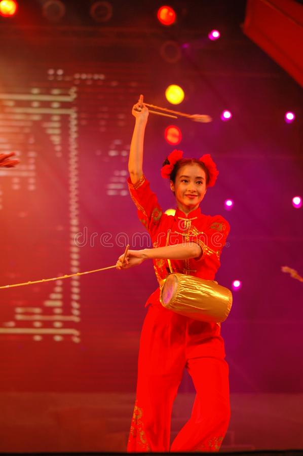 Partido da gala do festival de mola de Feng-Yong Flower Drum Song-2006 Jiangxi imagens de stock royalty free